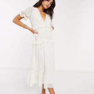 ASOS DESIGN button lace tiered midi dress